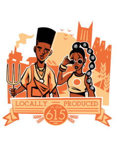 """illustration of black man and woman with a banner that says """"locally produced"""""""